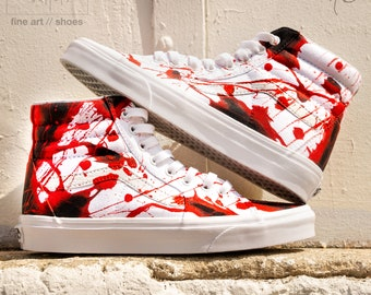 sale retailer 70d1b 66a9d Custom Painted Blood Splatter Vans Shoes - Blood Splatter Sk8 Hi Vans Hand  Painted