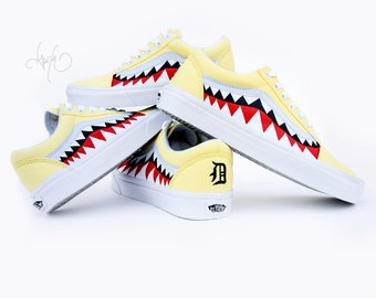 029e3c84275 Custom Bape Vans Shoes with Initials - Hand Painted Shark Teeth - Old  Skools with Teeth Painting and Initials on Heels - Bape Old Skools