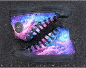 e66ee5a7fe0 Custom Painted Galaxy Shoes - Hand Painted Converse High Tops - Custom  Galaxy Shoes