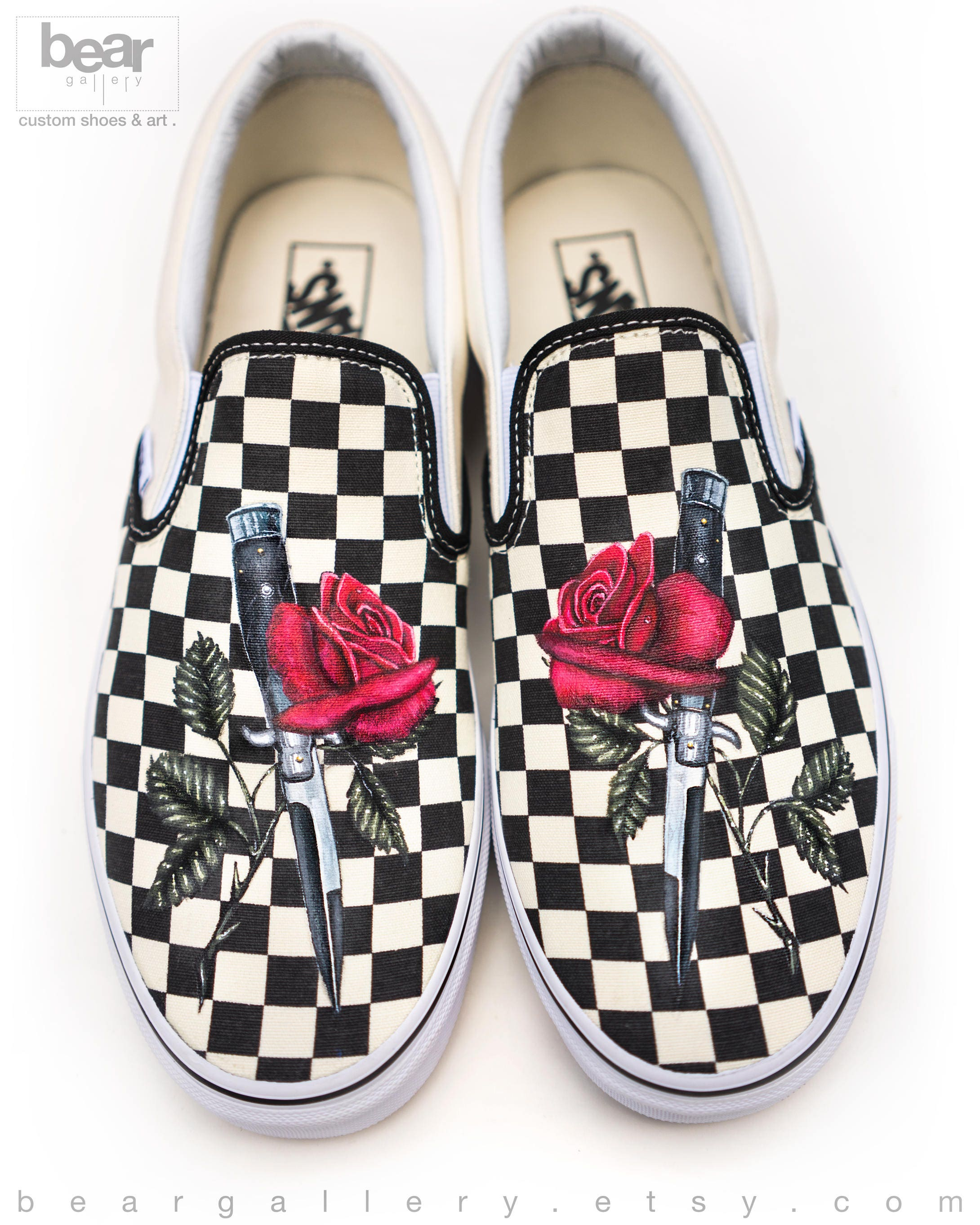 Custom Painted Rose and Knife Vans Shoes - Hand Painted Rose and  Switchblade Stiletto Shoes