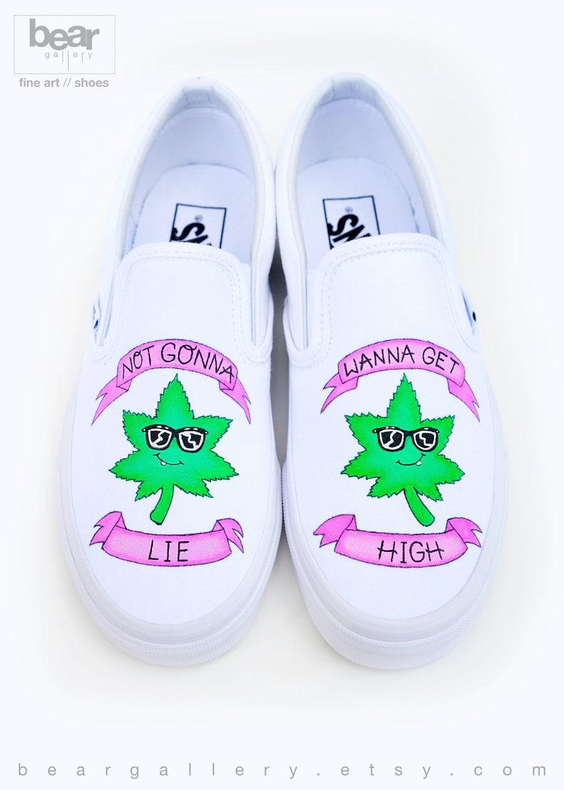 af693e5965 Custom Painted Weed Vans Shoes Hand Painted Weed Leaf Wanna