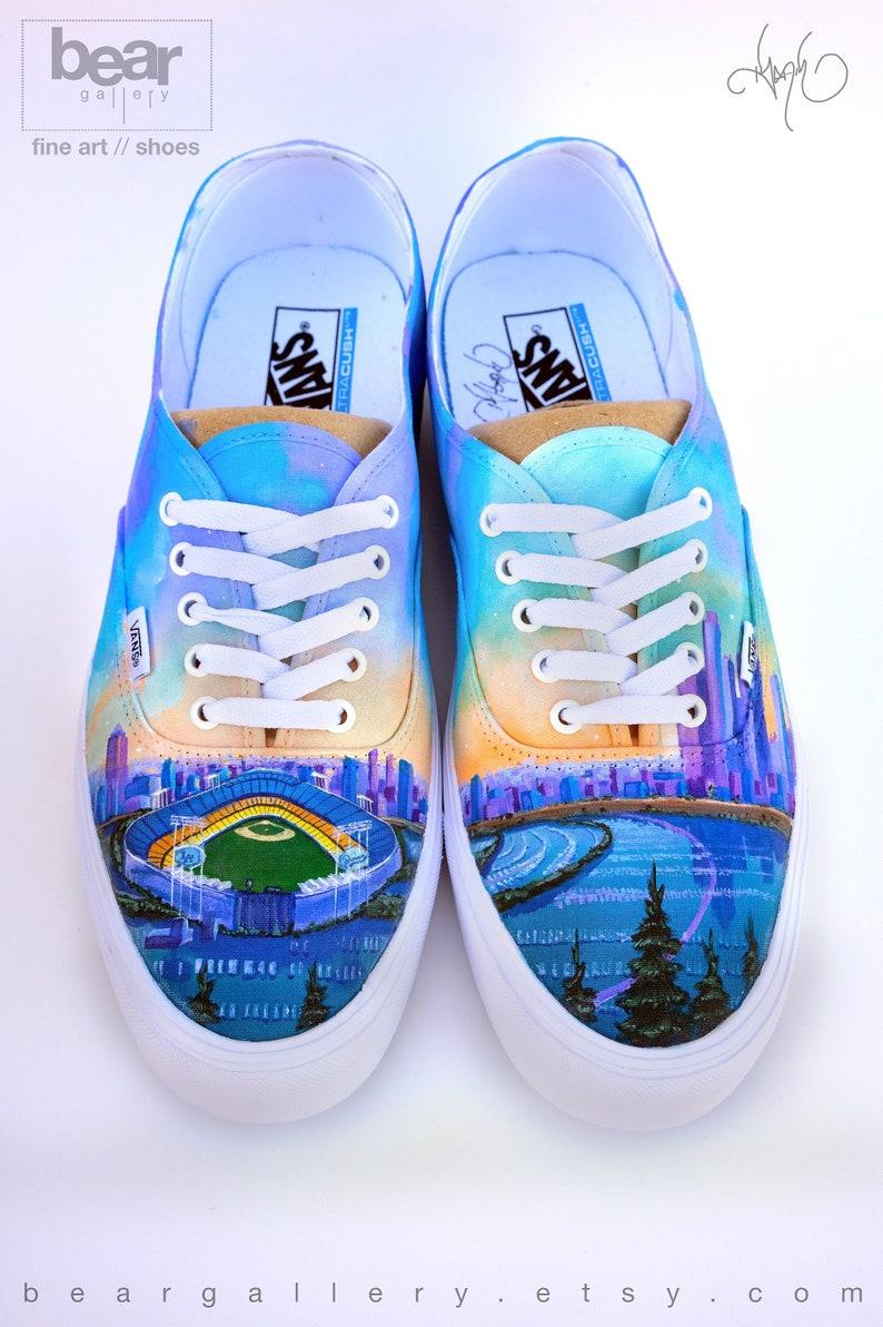 7fb238d0a8 Custom Painted LA Vans Shoes Hand Painted Los Angeles City | Etsy
