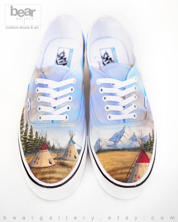 Custom Painted Native American Vans Shoes Hand Painted Teepees in the Plains Native American Art