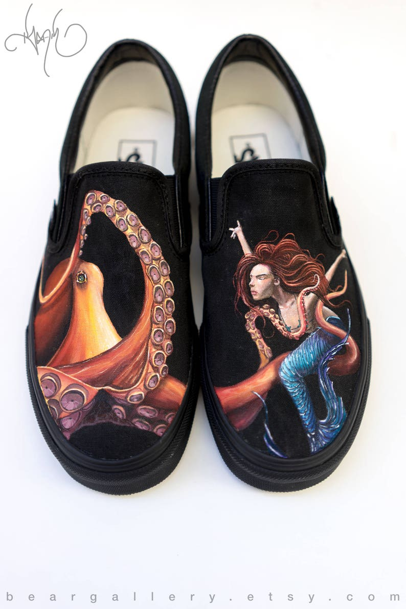 Custom Painted Octopus and Mermaid Vans Shoes Hand Painted  61a02d1df