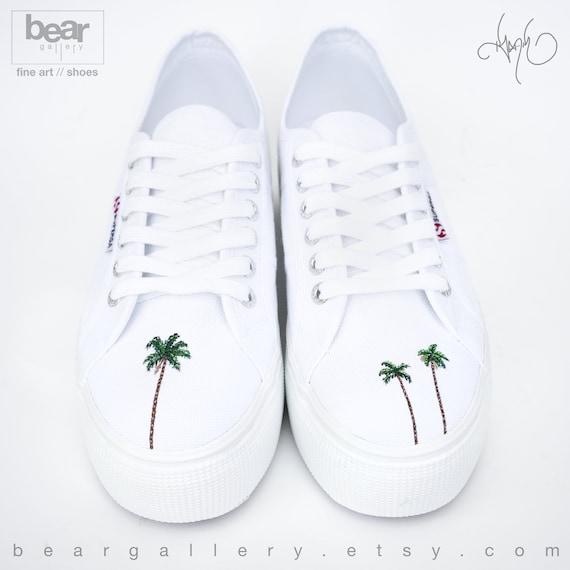 Custom Palm Tree Superga Shoes Hand