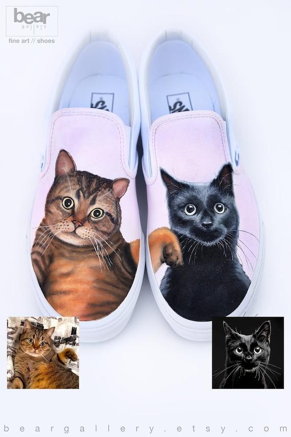 Benutzerdefinierte bemaltE Katze Vans Schuhe von Hand bemalt Katze Portraits Haustier Malerei Katze Malerei