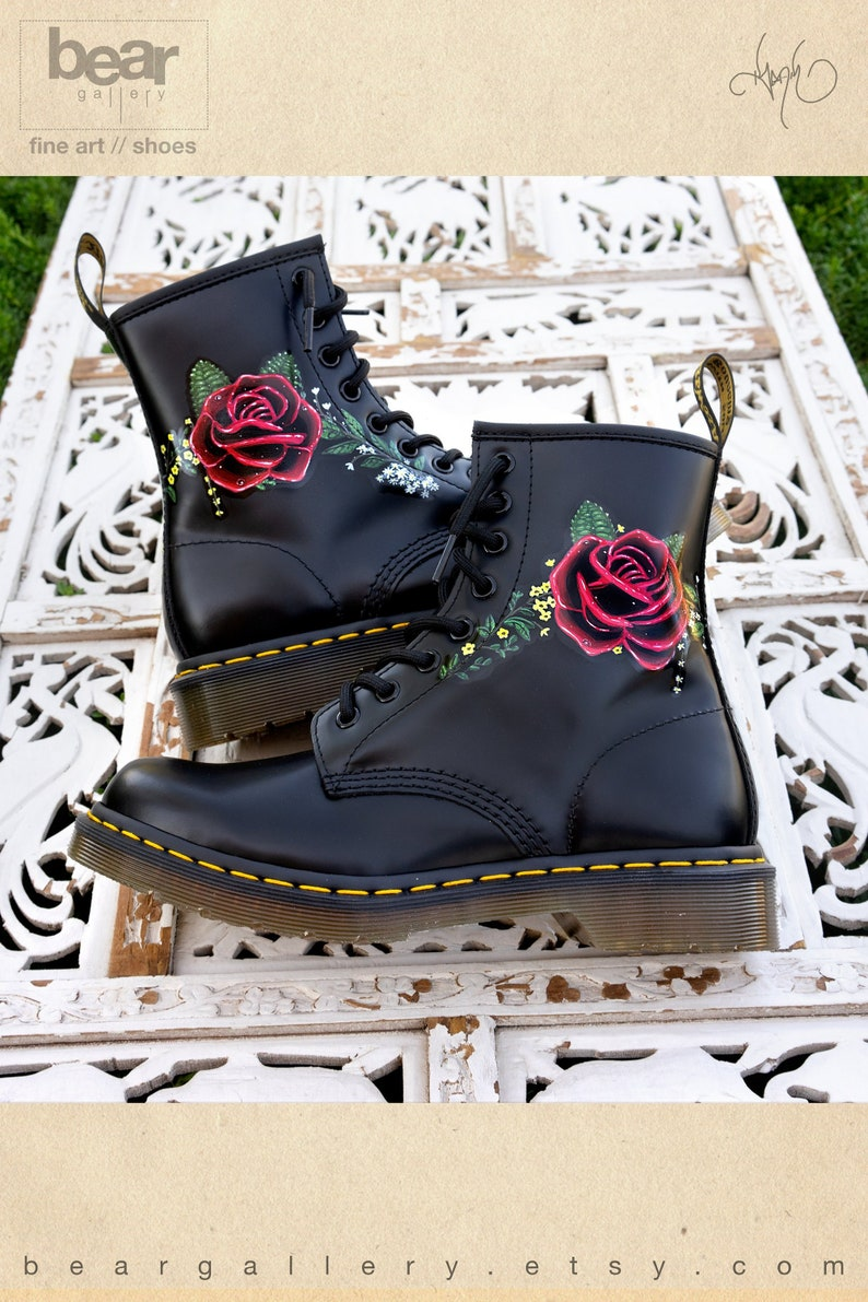 b396790f4f0e Custom Hand Painted Doc Martens Floral Rose Boots Flowers | Etsy