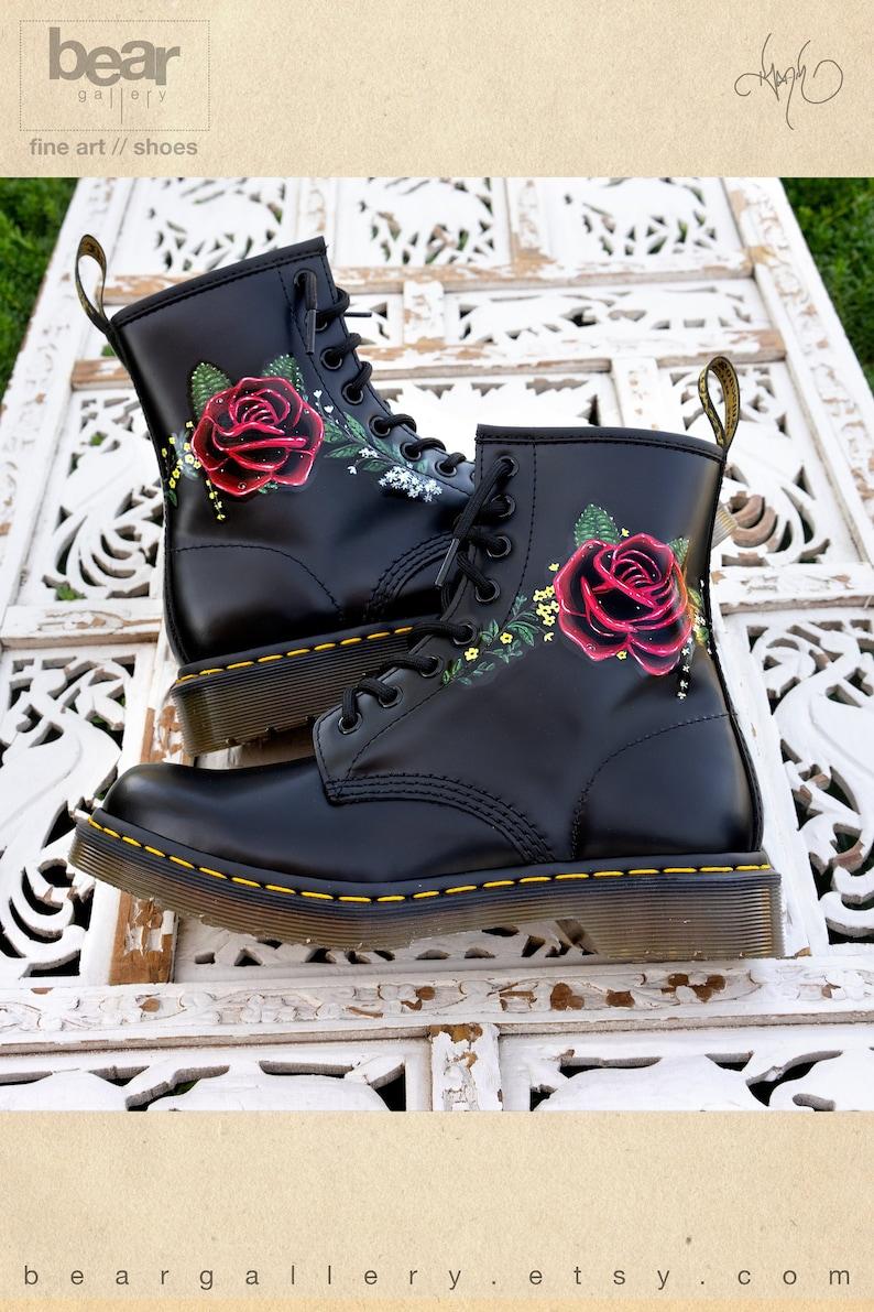 9846de5f287 Custom Hand Painted Doc Martens Floral Rose Boots Flowers