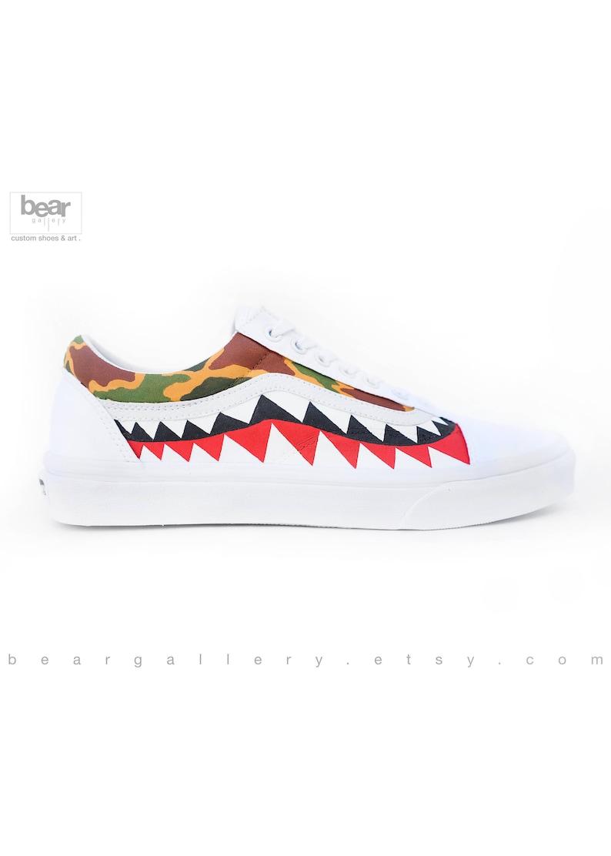 low priced 53f03 26d20 Custom Painted Bape Vans Shoes Camo Bape Old Skools   Etsy