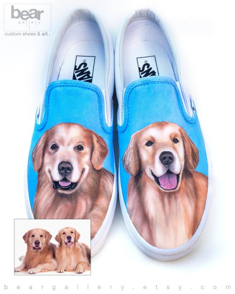 351e3a8b537af Custom Painted Dog Portrait Vans Shoes - Hand Painted Dog Shoes - Custom  Pet Portraits - Dog Paintings