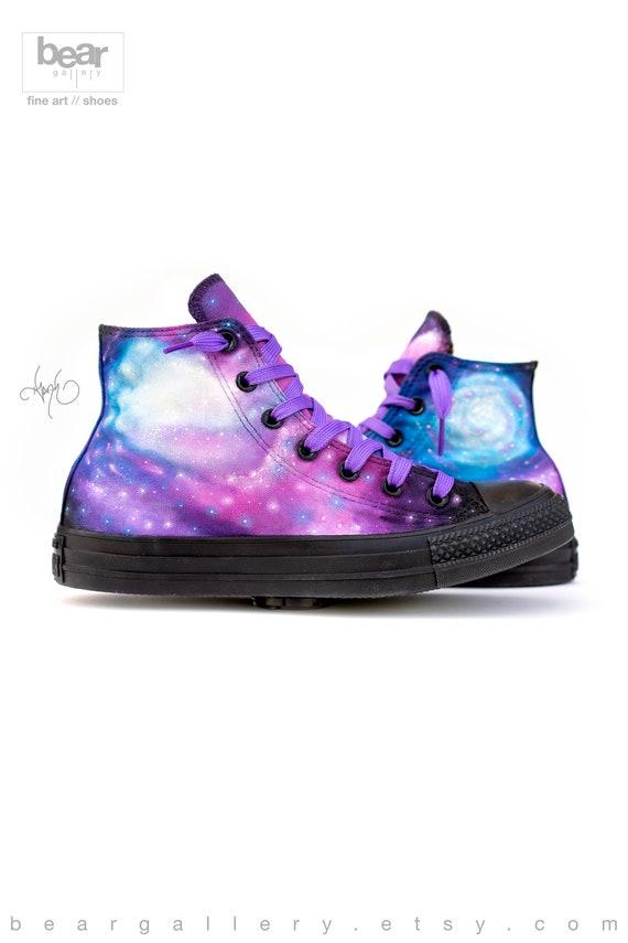 Custom Painted Galaxy Converse High Tops Hand Painted Galaxy Shoes Custom Galaxy Shoes
