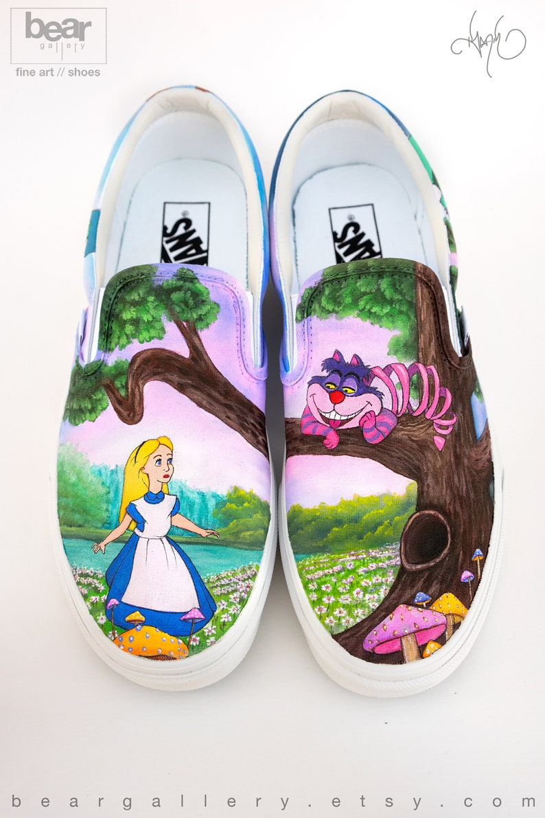1f3a42569d8 Custom Painted Alice in Wonderland Vans Shoes Hand Painted