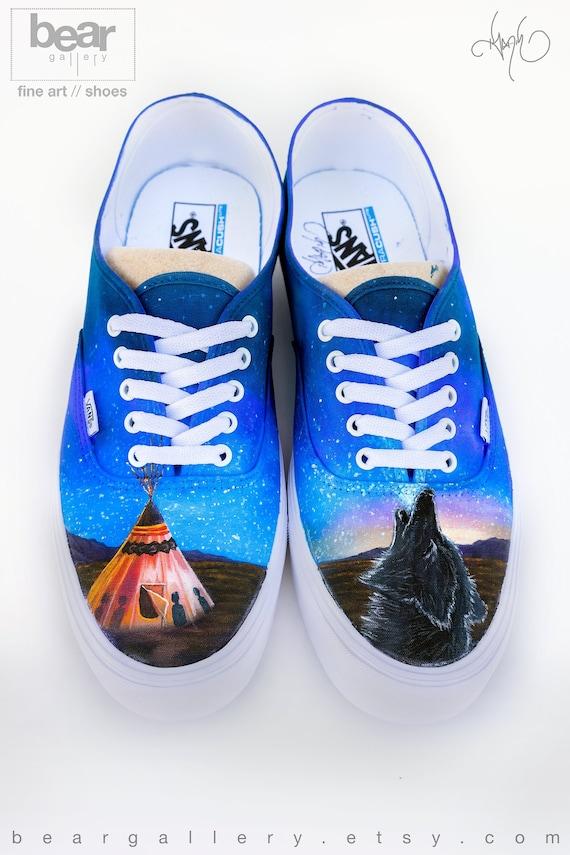 Custom Painted Native American Vans Shoes Hand Painted Teepee and Wolf Native American Art