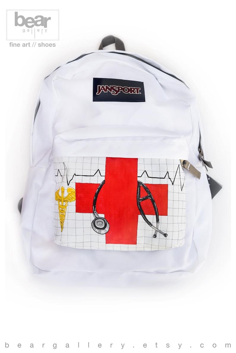 Custom Painted Medic JanSport Backpack - Hand Painted Medical Bag