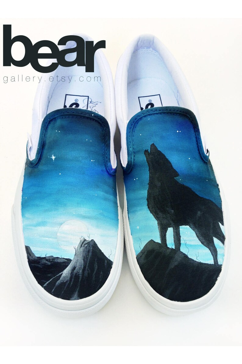 3f98196cde Custom Painted Wolf Vans Shoes Hand Painted Wolf Moon and