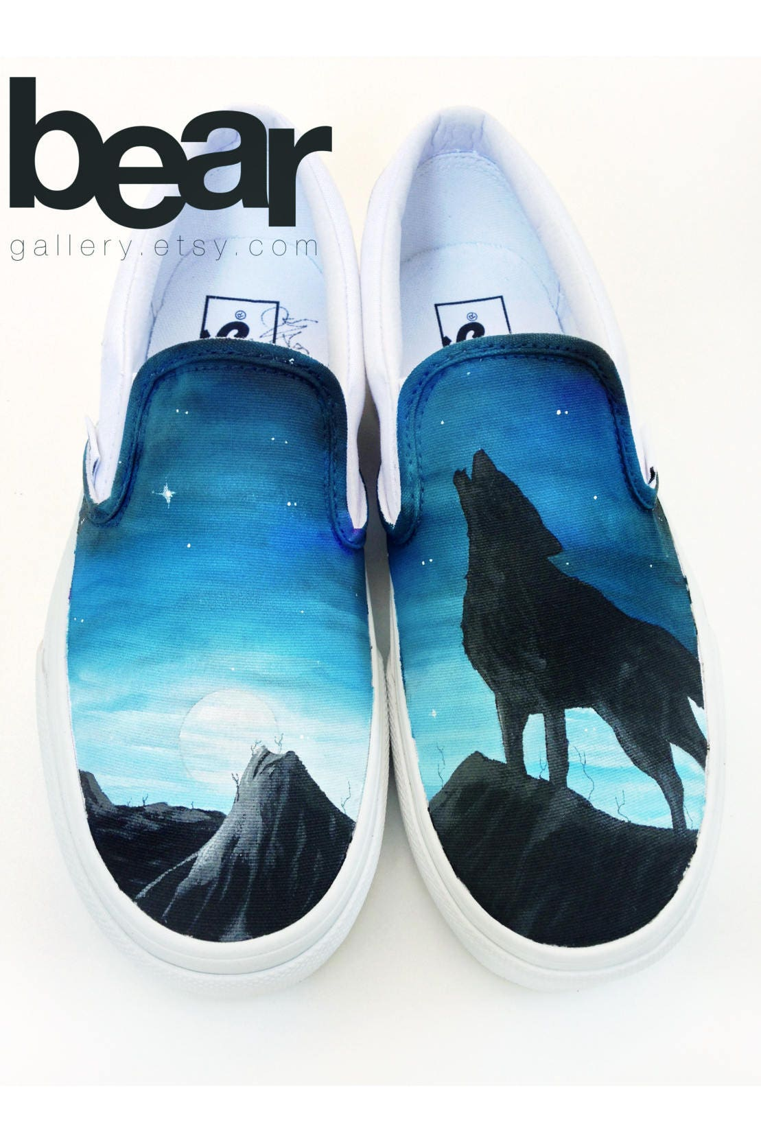 best website 36e03 58578 Custom Painted Wolf Vans Shoes Hand Painted Wolf Moon and   Etsy
