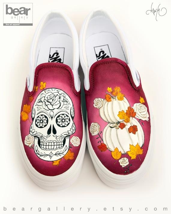 Custom Painted Sugar Skull Vans Shoes