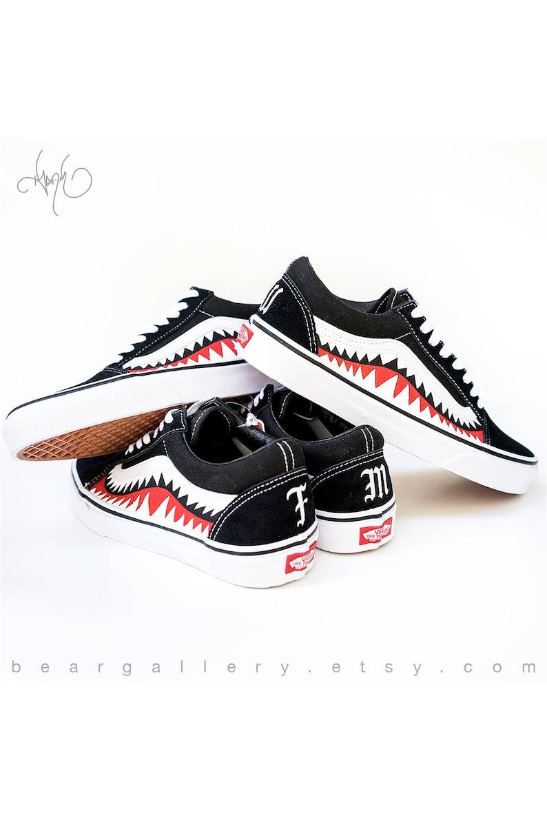 50b2b5889b7bd8 Custom Bape Vans Shoes with Initials Hand Painted Shark