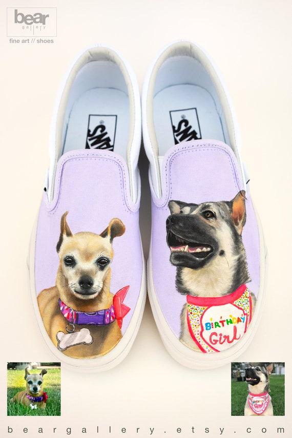 Custom Painted Dog Vans Shoes Hand