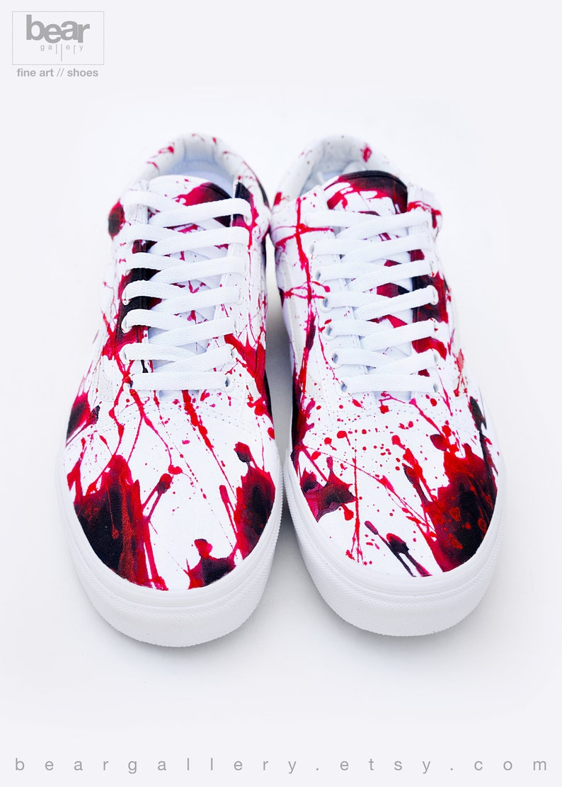 785df044907 Custom Painted Blood Splatter Vans Shoes Blood Splatter Old