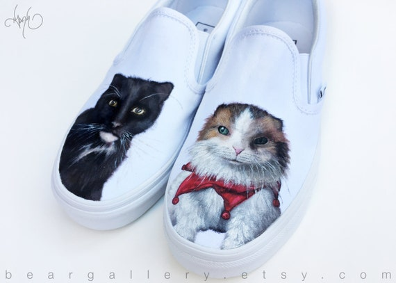 Benutzerdefinierte bemaltE Katze Vans Schuhe Katze Portraits von Hand bemalt benutzerdefinierte Pet Portrait
