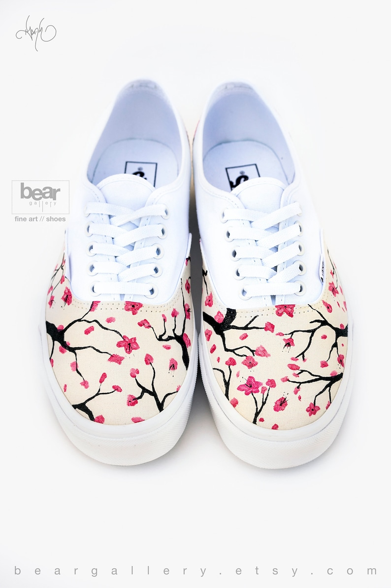 Custom Painted Cherry Blossom Vans Shoes Hand Painted Cherry  2f9965380