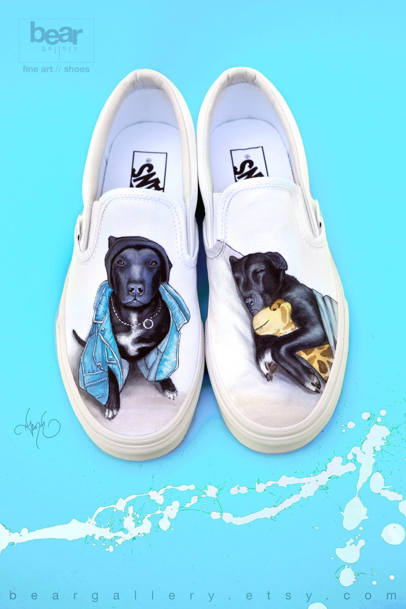 15186e637ee75 Custom Painted Dog Vans Shoes - Hand Painted Pet Portraits - Custom Dog  Portrait Shoes