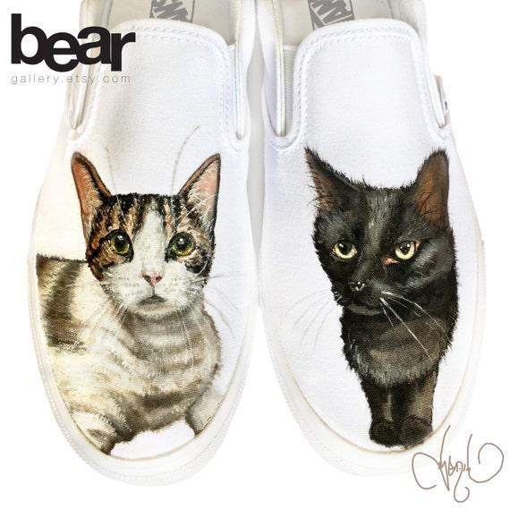 Benutzerdefinierte bemaltE Vans Schuhe Katzen von Hand bemalt Katze Portraits Haustier Malerei Katze Malerei