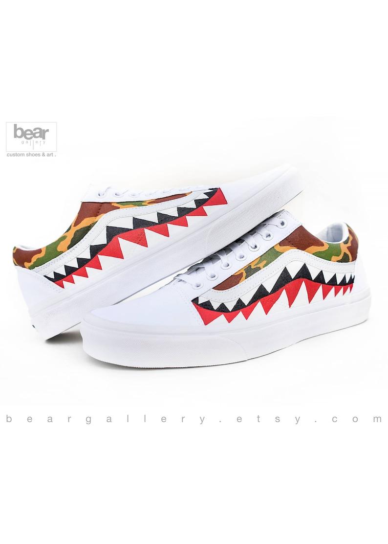 UnblockinEtsy Vieux Chaussures Vans Coutume Camo Peint Bape QCrdoxthBs