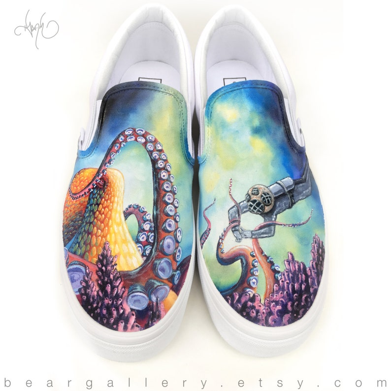 3f44c8f5f97 Custom Painted Octopus Vans Shoes Hand Painted Octopus Vans