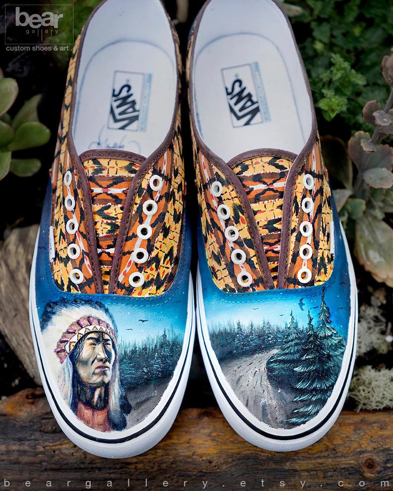2eb904be3dd Custom painted native american vans shoes hand painted etsy jpg 794x993  Wolf custom painted vans