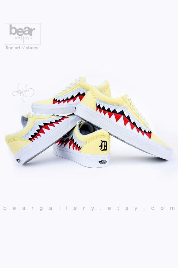Custom Bape Vans Shoes with Initials Hand Painted Shark Teeth Old Skools with Teeth Painting and Initials on Heels Bape Old Skools