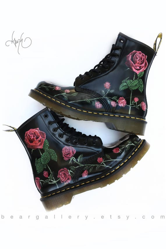 Custom painted rose doc martens boots hand painted flowers etsy image 0 mightylinksfo