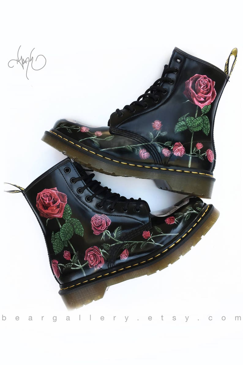 e93f1bb0d81 Custom Painted Rose Doc Martens Boots Hand Painted Flowers