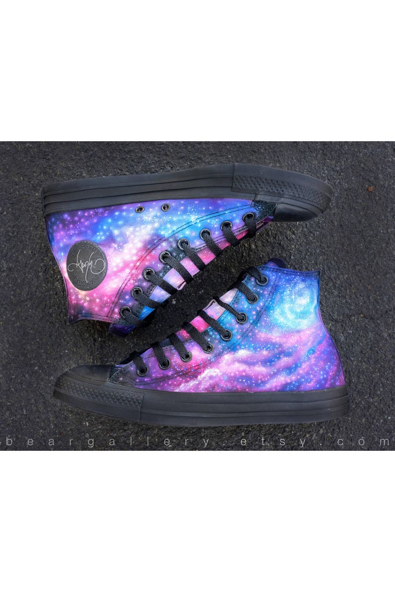 b7cc9c5f8c56 Custom Painted Galaxy Shoes Hand Painted Converse High Tops