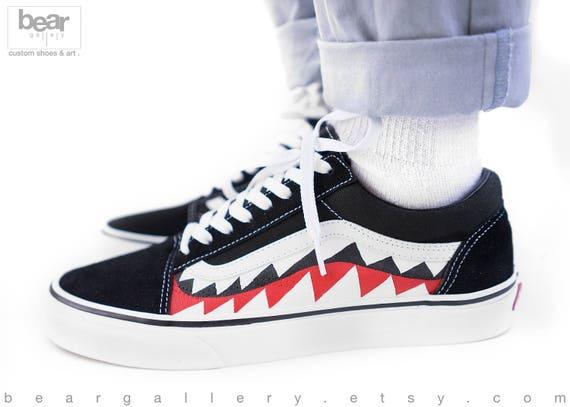 Custom Painted Bape Vans Shoes Bape Old Skools Produkter  Etsy