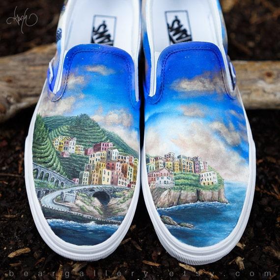 Chaussures Vans de personnalisé peint Cinque Terre - à la la la main peint Cinque Terre Italie côte | De Biens De Toutes Sortes Sont Disponibles  dca726