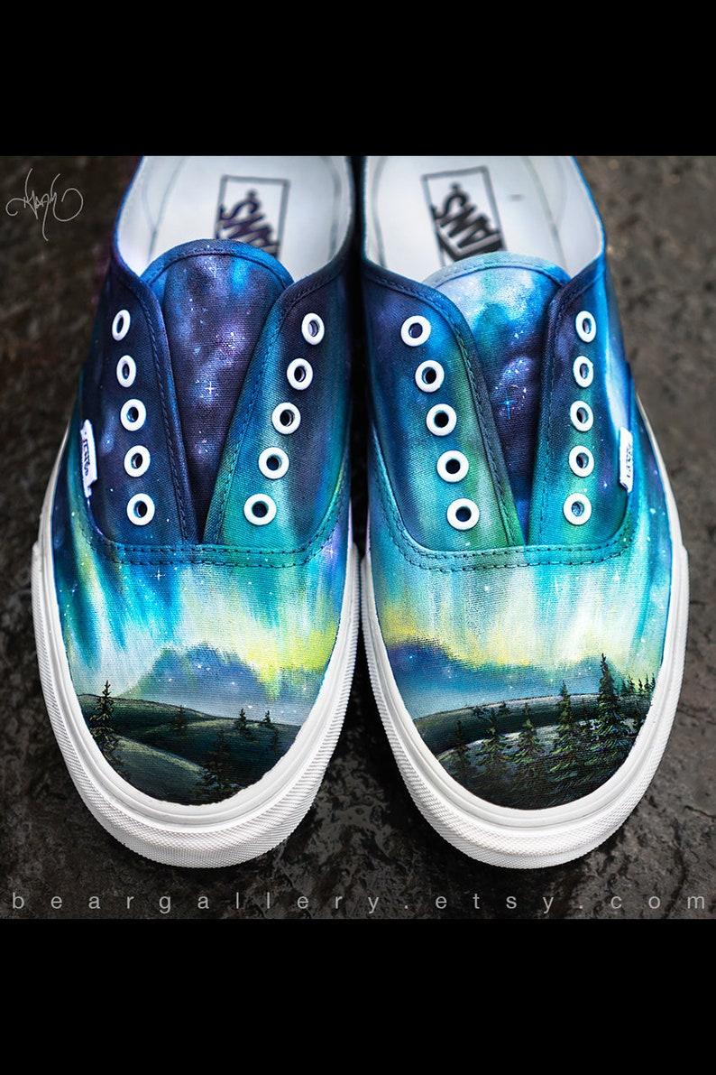 480d3c08be3 Custom painted aurora borealis vans shoes hand painted etsy jpg 794x1191  Wolf custom painted vans