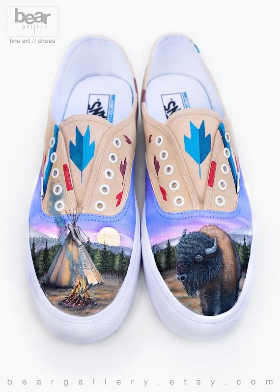 De Bison Main Vans Chaussures Peint R1rxy1wq Etsy Tipi Personnalisé Kcul13FTJ