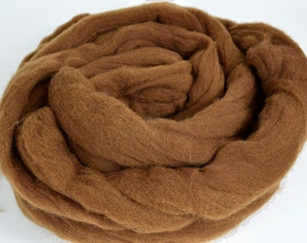 Plant Dyed Roving Dark Walnut - Sold by the Ounce - Brown Wool Roving - Natural Dyed Roving