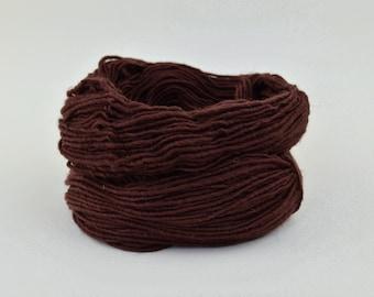 Coffee Brown Weaving Yarn, Navajo Weaving Yarn, Wool Yarn, 4oz skein