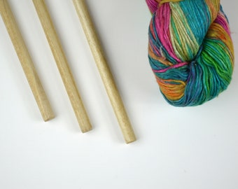 """Large Hanging Dowels for Weavings and Other Fiber Wall Art - Natural Finish - Set of 3 - 15"""" (38cm)"""