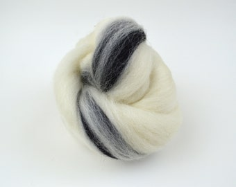 Black and White Wool Roving Mill Ends Spinning Fiber Roving Wool - Sold by the Ounce