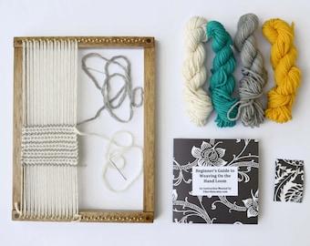 Weaving Loom Kit Beginner Level DIY Gifts - Oak Finish Weaving Loom