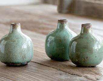 Glazed Stoneware Bud Vase SET of 3 in Blue & Green, Pottery, kitchen gift, single flower holder, merchandising