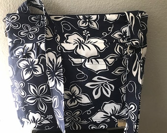 Hibiscus print in Navy blue Hawaiian flower  cotton canvas,  shoulder or crossbody bag by Darby Mack