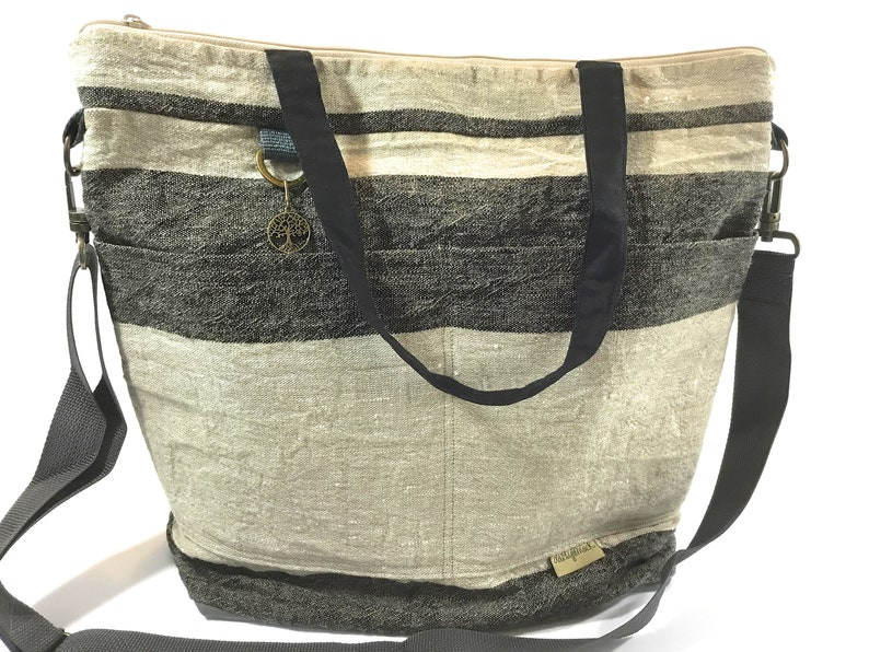 aafd481964b93 LINEN Diaper bag in Stripe & Waxed Canvas - vegan leather Baby bags, by  Darby Mack, Tote bags made in America, FREE Shipping