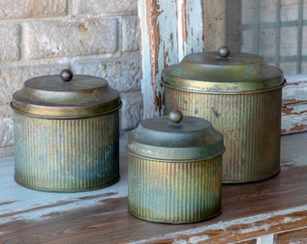 Patina Canisters, SET of 3 nesting containers with lids, urban farmhouse, kitchen gifts, merchandising