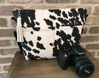 Camera bags for women, black and white Cotton Canvas Cow hide print, by Darby Mack & made in the USA
