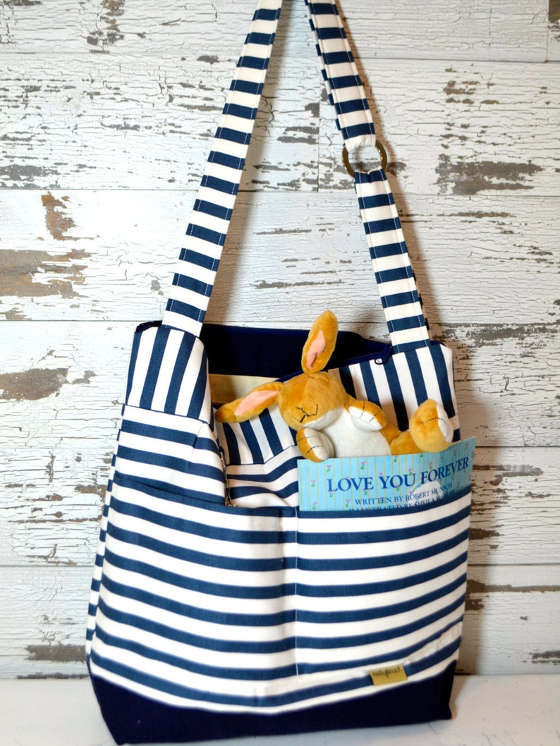 Nappy Sack by Darby Mack made in the USA waterproof base /'Lilou/' in washable Navy /& White Stripe Diaper bag in Stockholm Stripe